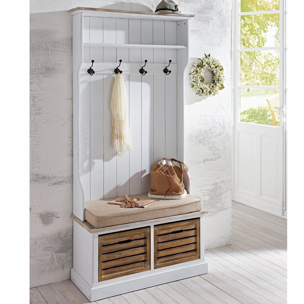 Hallway coat storage in white flower wreath interior design in vintage and Shabby Chic