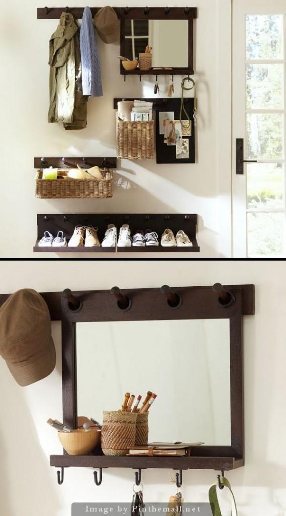 Hallway furniture floor cloakroom modern hangers shoe rack storage shelf