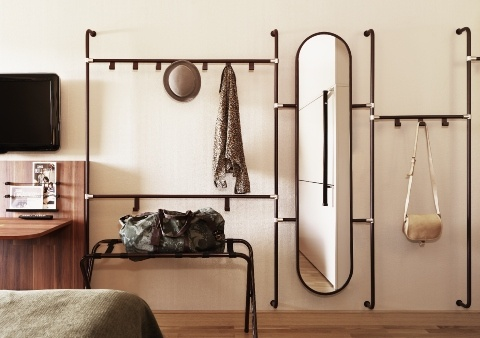 Hallway storage space mirror oval lobby furniture