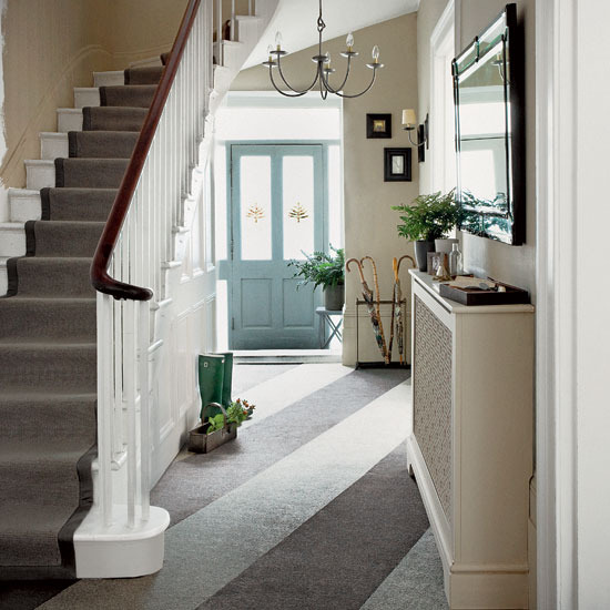 Hallway with staircase design ideas flooring Furniture traditional