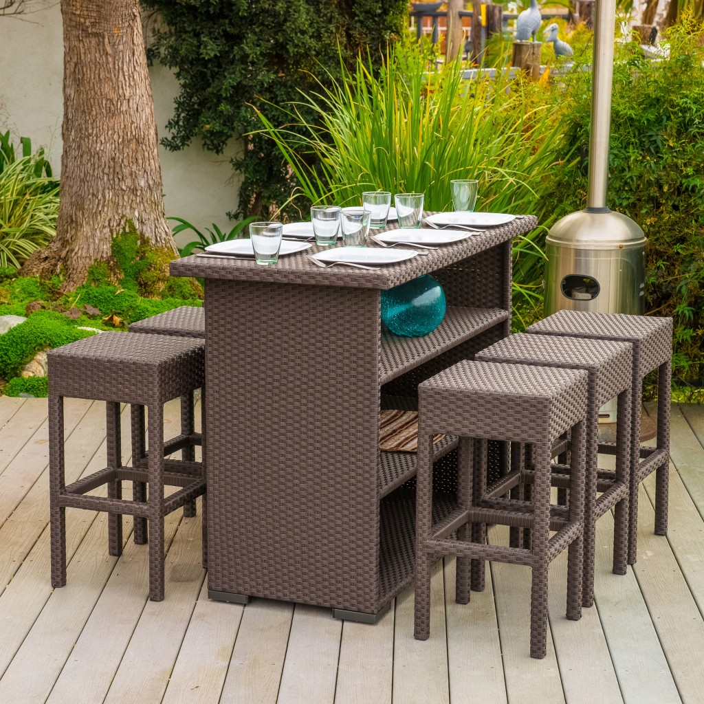 High dining table with six bar stools outdoor furniture set