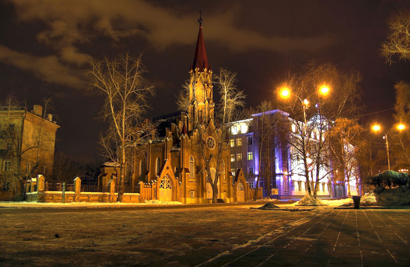 Irkutsk-Theaters-by-night-Russia,-Sibir