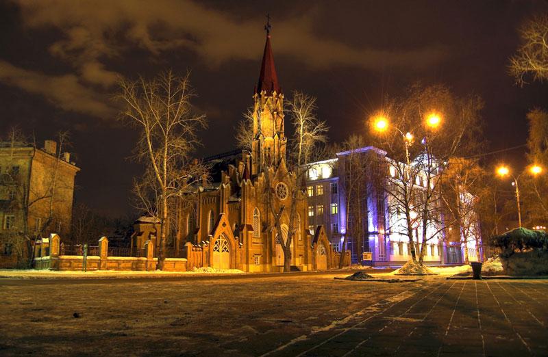 Irkutsk-Theaters-by-night-Russia,-Sibir