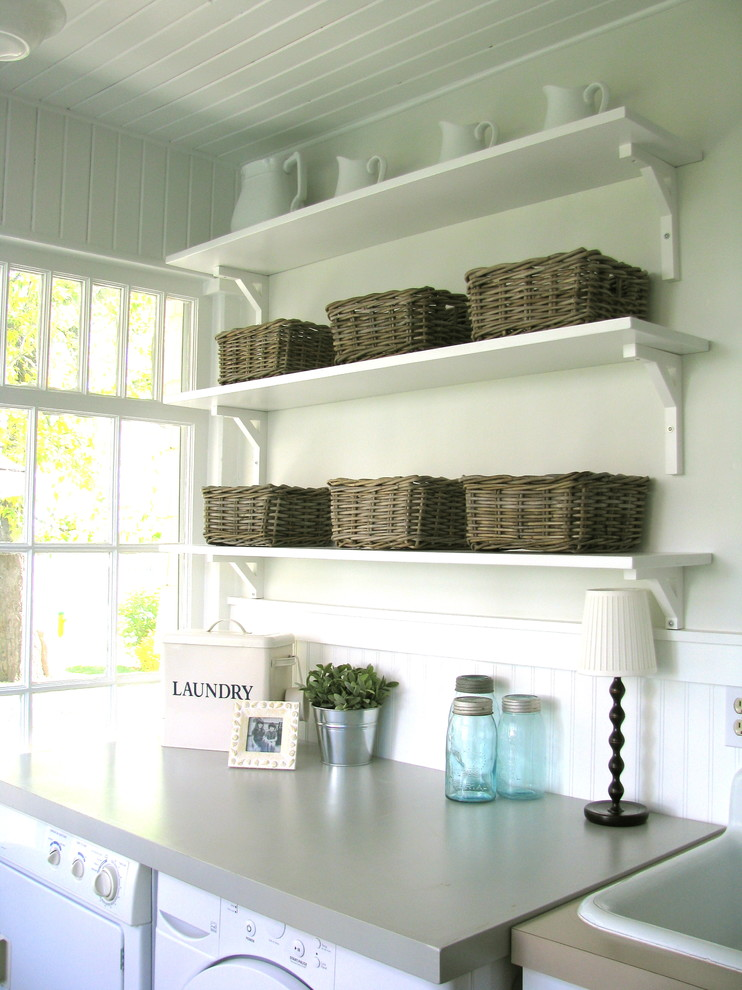 Laundry Room Storage Wall Shelf Basket
