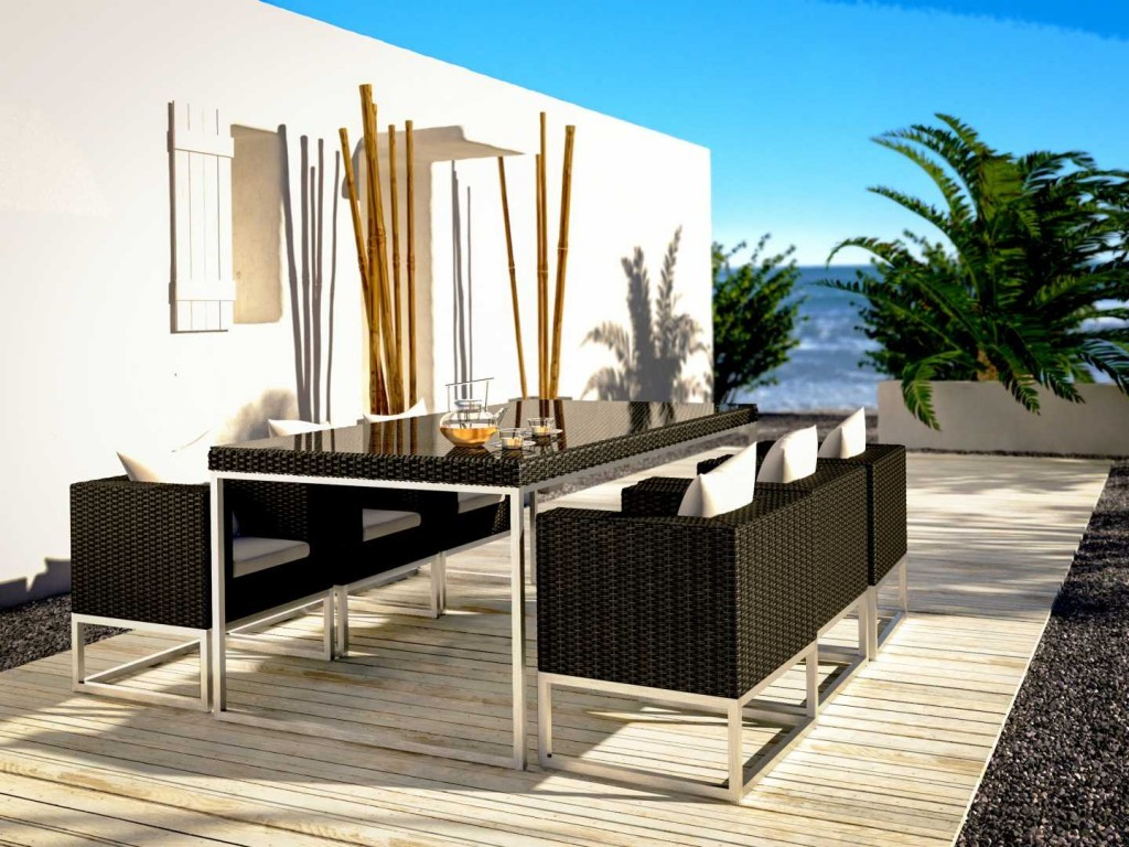 Luxurious furnishings in black garden furniture sets