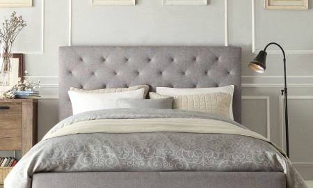 Modern bed with quilted headboard in grey - bedroom luxury beds