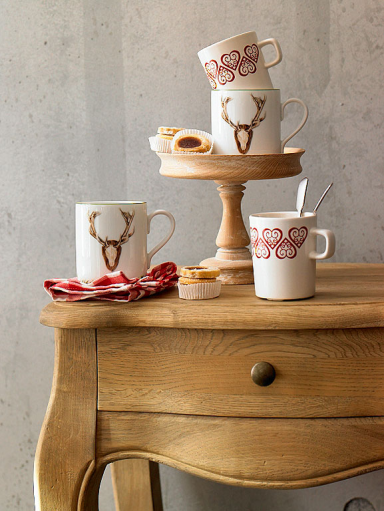 Porcelain cup depicting rural interior design in vintage and Shabby Chic Plaid