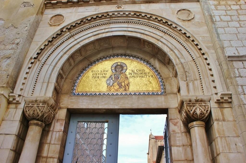 The street entrance to Euphrasian Basilica complex in Porec, Croatia