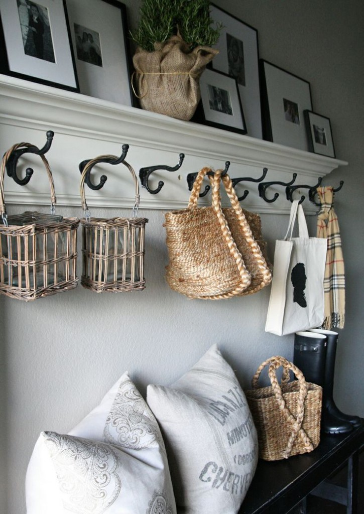 Vintage wall shelf hanger decoration cushion basket photo frame bench black storage