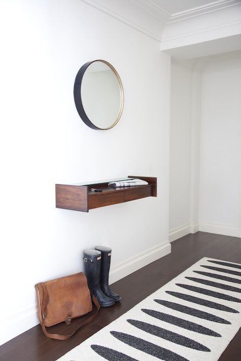 Wall shelf mirror around modern hallway furniture