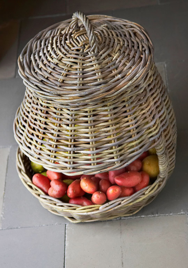 Wicker basket fruit interior design in vintage and Shabby Chic