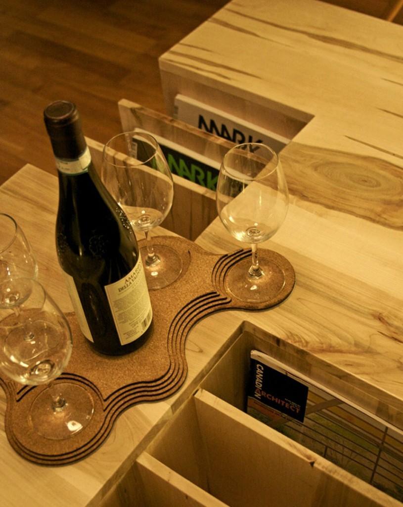 Wine glasses book shelf wood coffee table