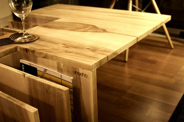 Wood coffee table book shelf