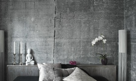 Bedroom Stylish decoration cushion orchid floor lamp Buddha Figure Candle Holder Silver White-Wallpapers in concrete optics industrial style