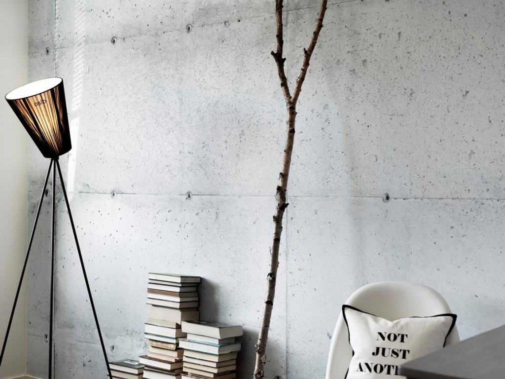 Book Decoration cushions Branch floor lamp lampshade White-Wallpapers in concrete optics industrial style