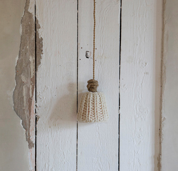 Decoration ideas of rustic home accessory knitted lamp shade