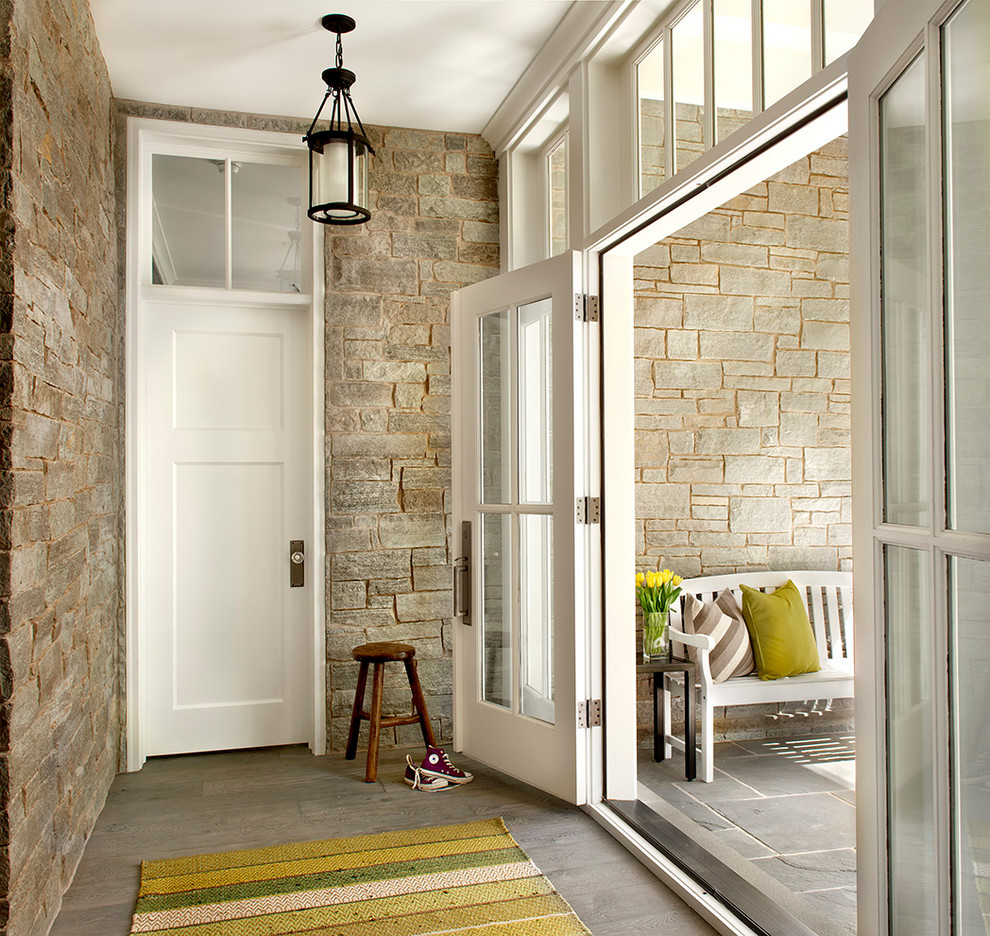 Entrance Area stone seat French doors-hallway