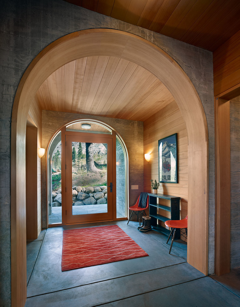 Front door made of glass hut wood arch-hallway Furnishing