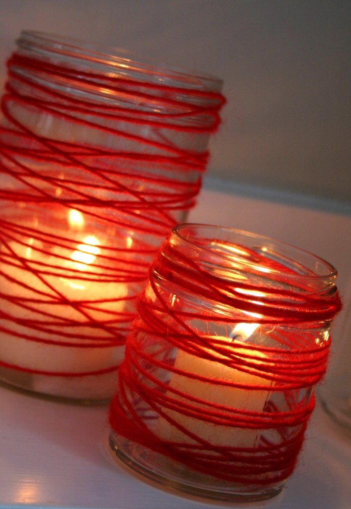 Glass Candles Crafts-deco ideas for Valentine's Day