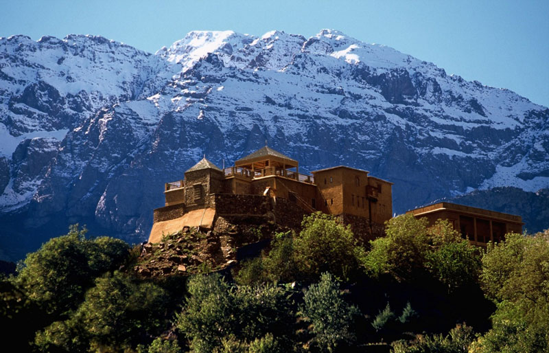 Kasbah-du-Toubkal,-Morocco-beautiful-mountain-castle-view