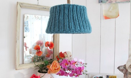 Pendant colorful Shabby Chic knitted lamp shade