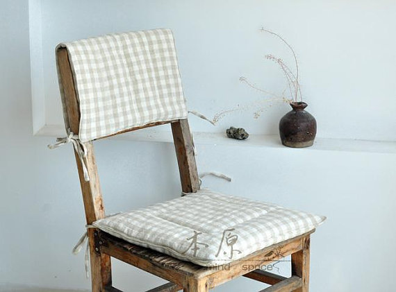 Pillow with plaid pattern-chair cushion