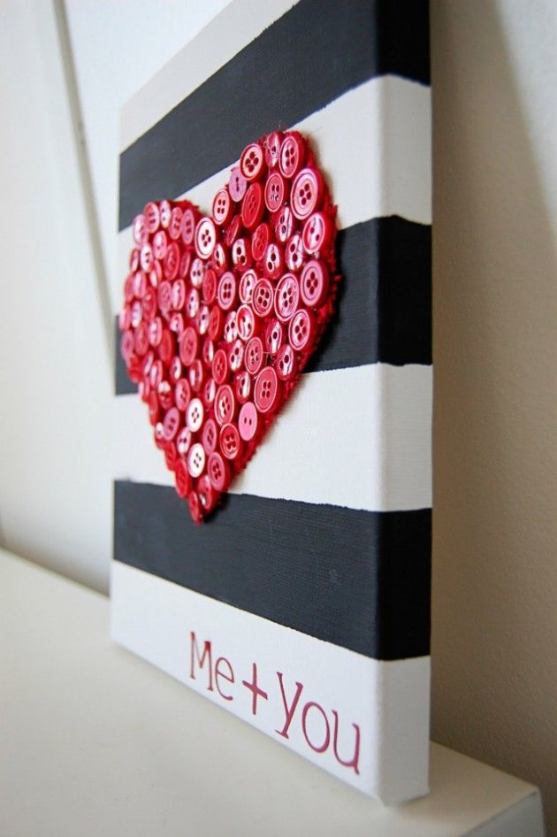Red heart from buttons black and white stripes on canvas-deco ideas for Valentine's Day