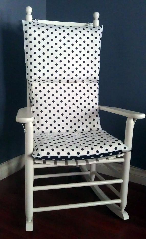 Rocking chair dab black and white chair cushion