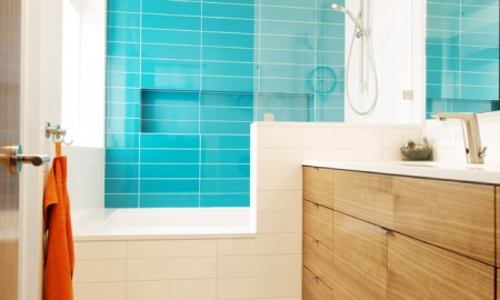 Shower cubicle bath turquoise green white modern bathroom furniture wood