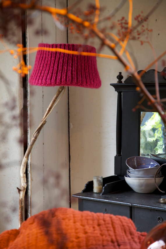 Vintage orange red natural knitted lamp shade