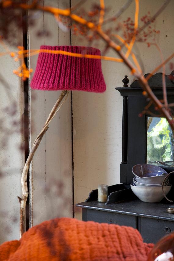 Vintage orange red natural knitted lamp shade