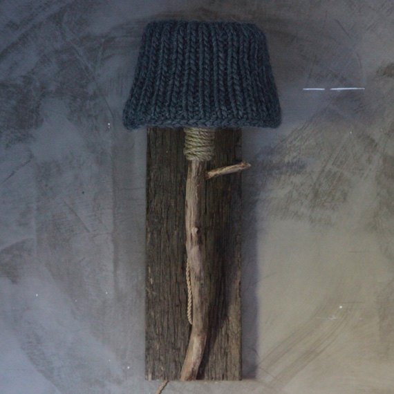 Wall lamp in the bedroom knitted lamp shade