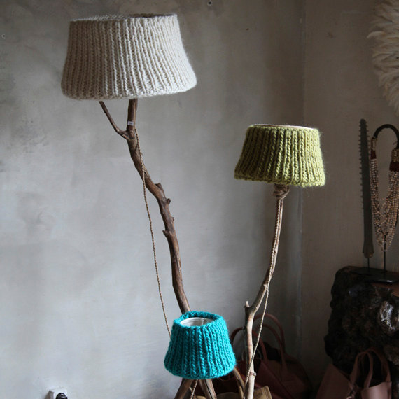 Interesting lamp shades pre tend be curious f knitted lamp shade aloadofball Choice Image