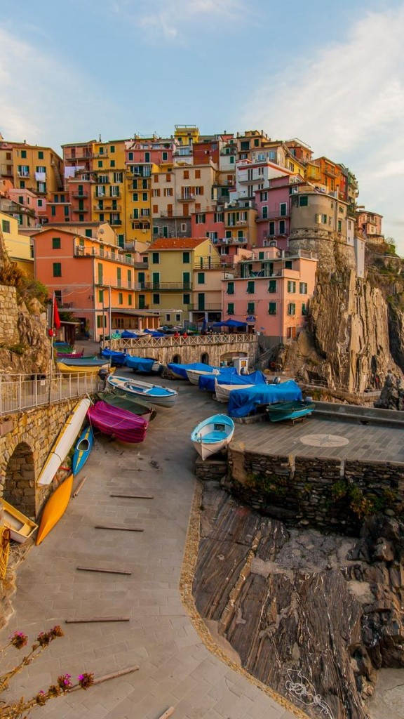 Cinqueterre The five lands of Italy view from above boats seaside