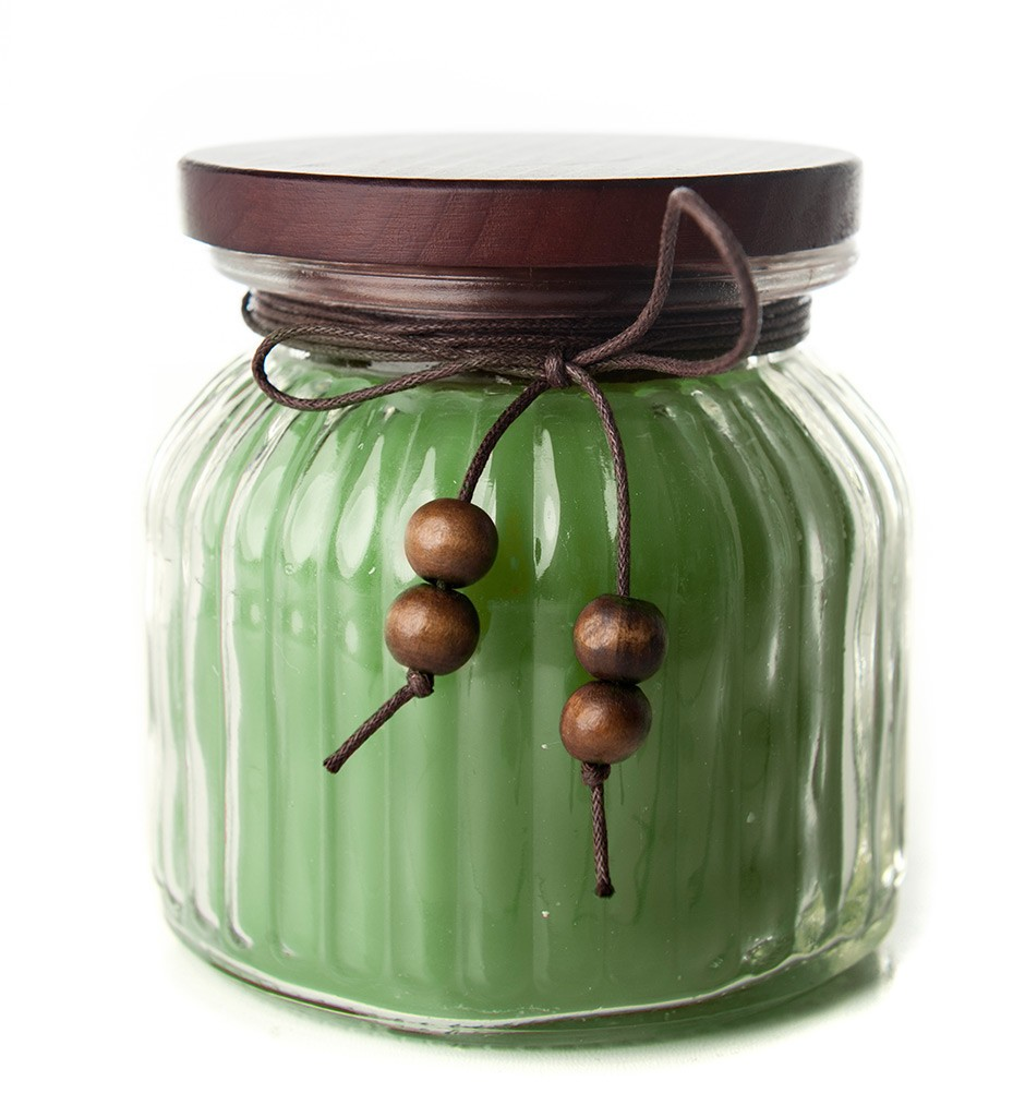 Green Candle in jar-flameless Candles