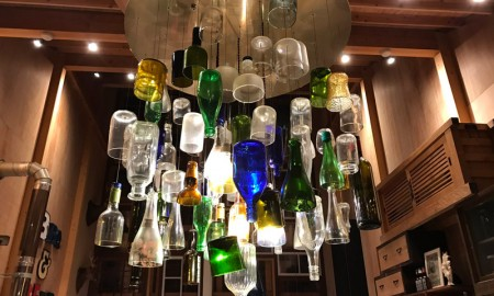 Kamikatz-Public-House-zero-waste-building-from-recycled-garbage-facade-Japan-town-Kamikatsu-lamp-from-used-colorful-bottles