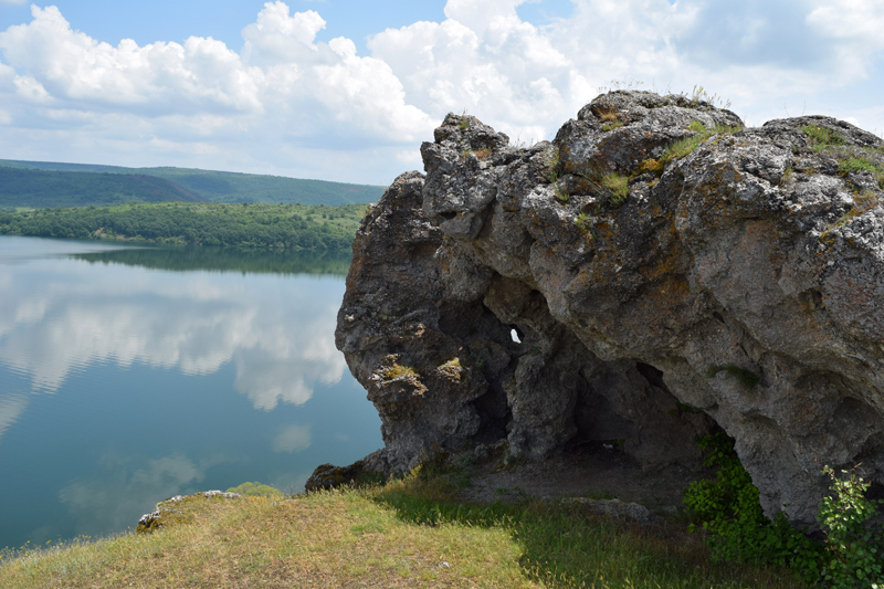 Landscape from Ancient Bulgarian Chapel St. Joan spirng green grass dam water beautiful view rock