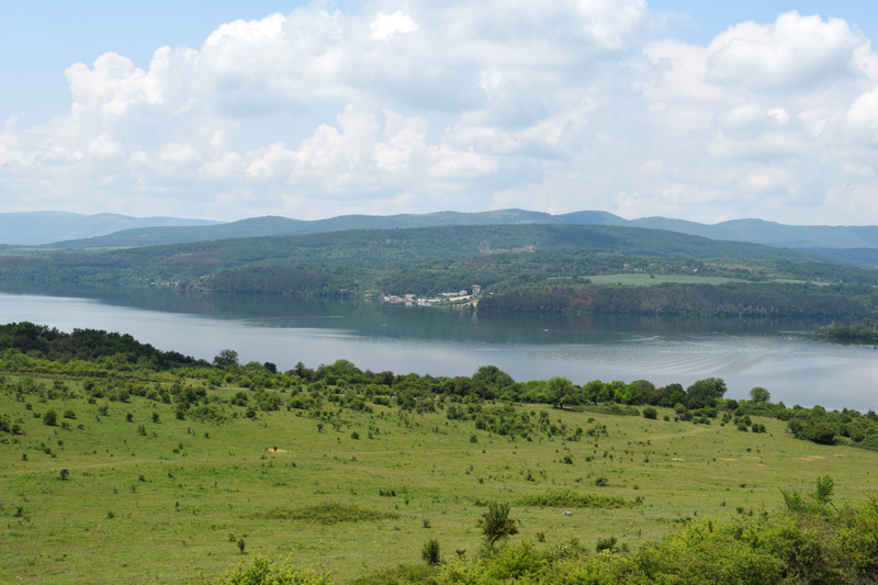 Landscape from Ancient Bulgarian Chapel St. Joan spirng green grass dam water beautiful view
