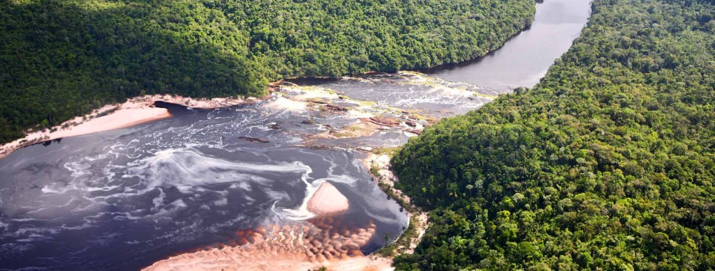 Aerial view on tropical forest river