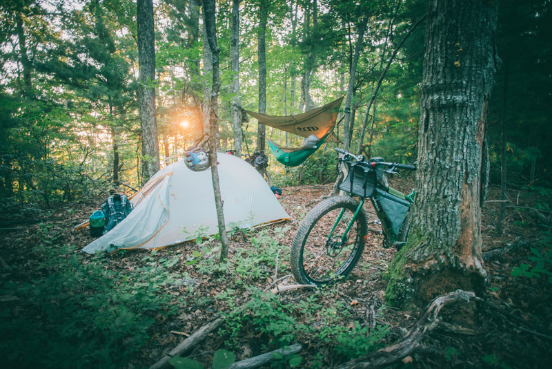 The-Appalachian-Route,-United-States-bikepacking-pisgah-camping-in-woods