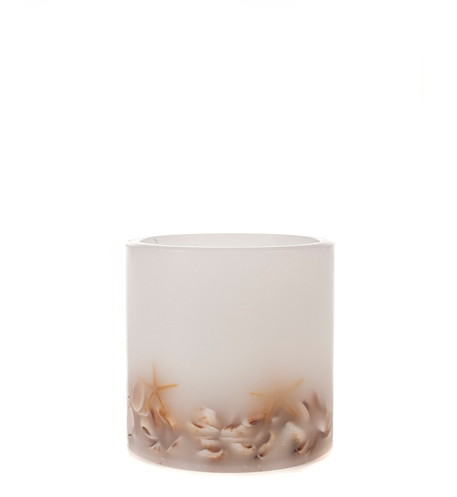 White candle with mussels LED-flameless Candles