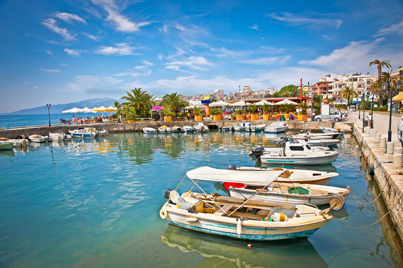 Adriatic-coast-the-Albanian-Riviera-beautiful-tourist-destination-non-commercial-harbor-boats-seaside-sunny-summer-time-summer-vacation