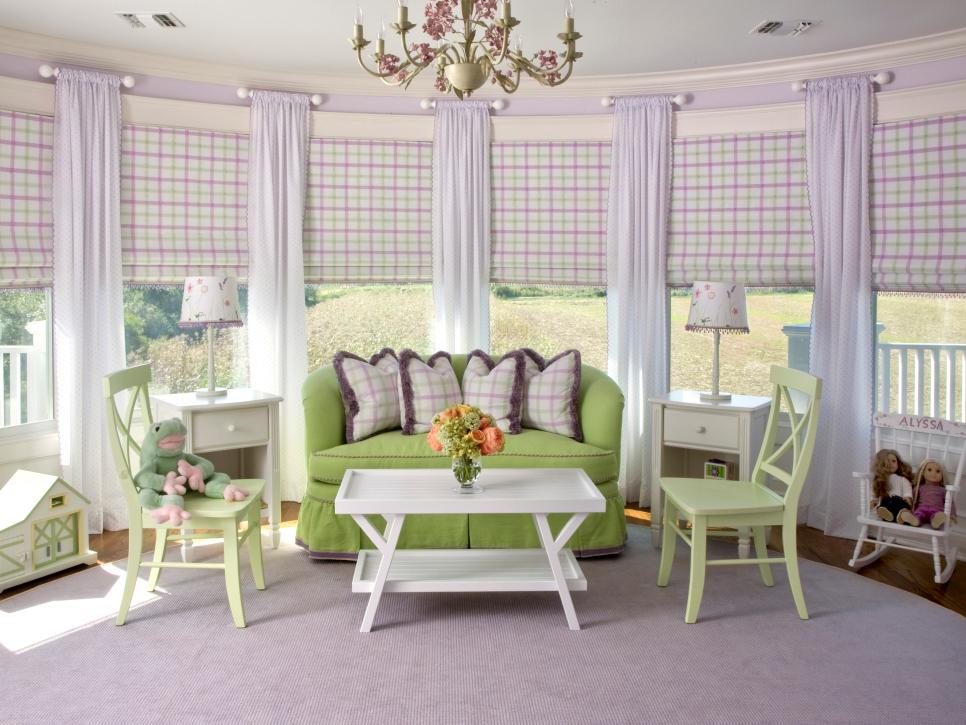 3-play area in purple with Roman blinds-Youth bedroom Girls