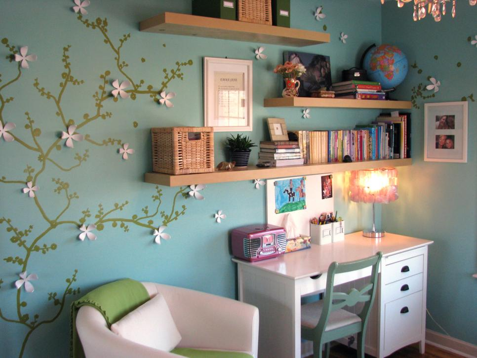4-colorful furnishings and small desk in white-Youth bedroom Girls