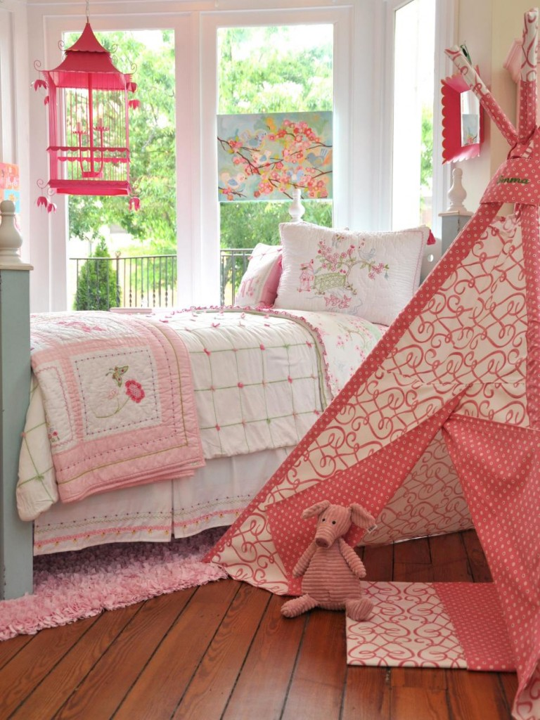 5-floral motifs and children's tent-youth bedroom Girls