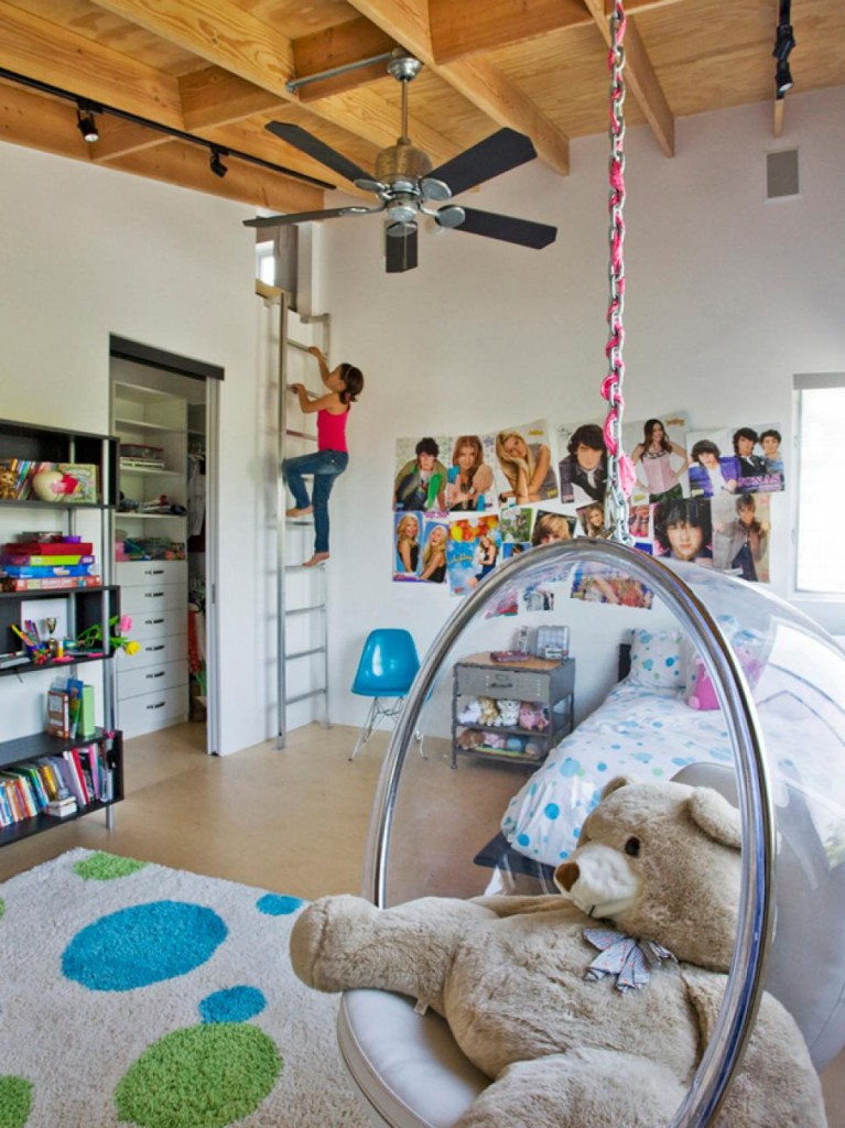 8-designer children's room with hanging armchair-children's room youth bedroom