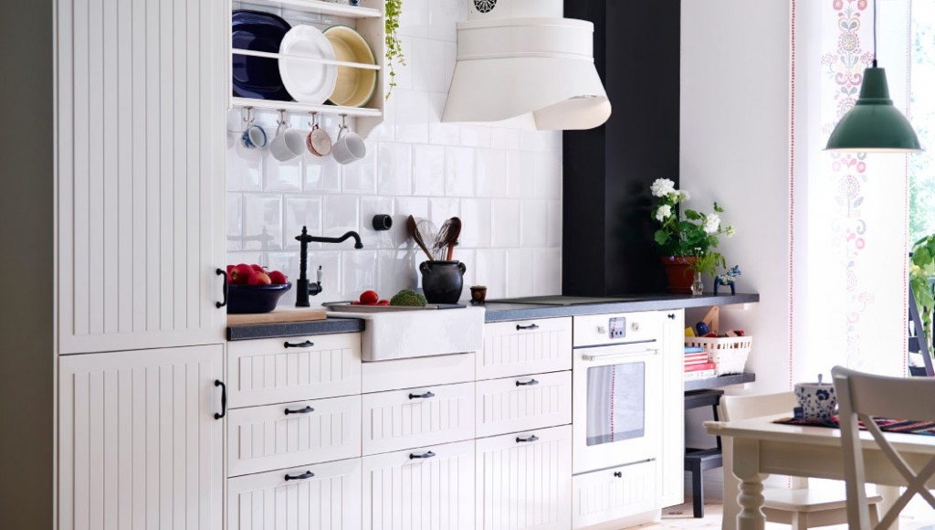 Ikea country house modern white rustic faucet pendant industrial plain tile mirror cooker hood-kitchen ideas