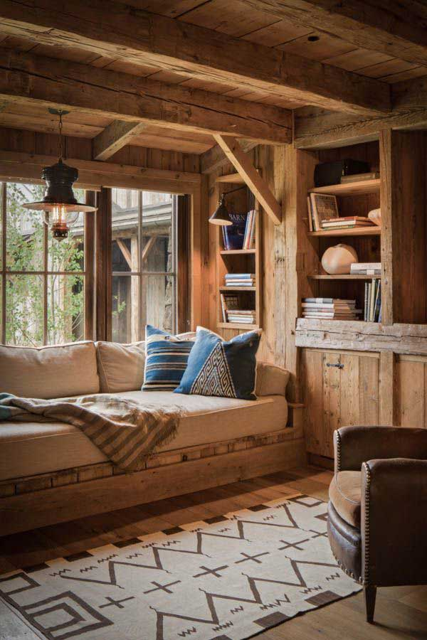 Inspiring-Window-Reading-Nook cozy wooden nook brown carpet hut style wooden house