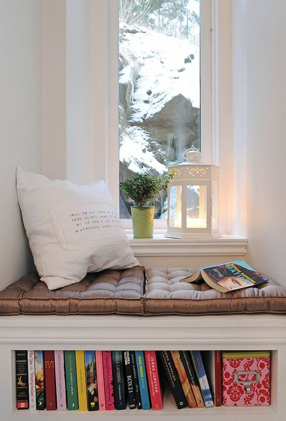cozy reading nook with small windows and snoy view books under sofia
