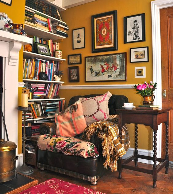 crazy reading nook corner place books and pictures on the wall colorful pillows